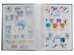 16 WHITE PAGES - HARD COVER / GLASSINE STRIPS - GREEN