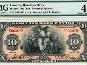 Barclays Bank of Canada 1935 $10